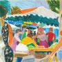 Plein marché à Roanne - circa 1986 - Pastels à l'huile - 32,5/41 - ©Adagp Paris 2014