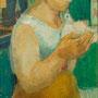 La femme au pigeon (Venise) - 1953-55 - Hst - 145 x 71 cm - ©Adagp Paris 2014