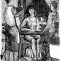 Les joueurs de carte - Encre de chine - 1952 - 24,5 x 18,5 cm - ©Adagp Paris 2014