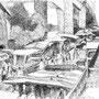 Marché couvert - feutre - circa 1985 - 31,3 x 41 cm - ©Adagp Paris 2014