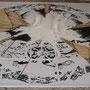 """""""Sendas"""" yeso sobre impresión intervenida 200 x 200 x 20 cms. 2013"""