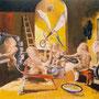 """""""Los poncheros de la calle Velázquez"""" óleo/tela 85x118 cms. 1995"""
