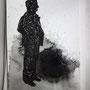 Encre de chine, lavis, feutre acrylique sur papier 15 x 10 cm / 2017