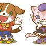 「犬の男の子、猫の女の子」2014年、Illustrator