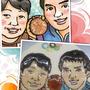 似顔絵ケーキ⑦オリンピックメダリスト、水泳松田選手の似顔絵も描きました!