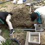 掘った穴に管を投入