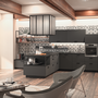 cuisine intérieur design tendance moderne  à toulouse gris anthracite noir ilot central carreaux de ciment