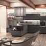 cuisine design tendance moderne  à Toulouse gris anthracite noir ilot central carreaux de ciment type industriel