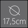 Das Spiegelelement hat einen Gesamtdurchmesser von 17,5cm