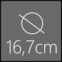 Das Spiegelelement hat einen Gesamtdurchmesser von 16,7cm