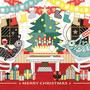 """◆ベクターイラスト(配色まで)+素材塗り加工(質感)◆クリスマスカード「アリとキリギリスのクリスマスホリデー」/Christmas card """"Christmas holiday of The Ant and the Grasshopper"""""""