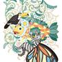 ◆ベクターイラスト(配色まで)+素材塗り加工(質感)◆植物魚と猫蝶とオニオオハシ/Plant fish and Butterfly cat and Toco toucan