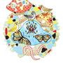 ◆ベクターイラスト(配色まで)+素材塗り加工(質感)◆毒茸と雀チュチュンがチュン/Poisonous mushroom and twitter of sparrows