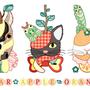 ◆ベクターイラスト(配色まで)+素材塗り加工(質感)◆果物動物「洋梨馬」「林檎猫」「蜜柑兎」と芋虫/Fruit animals a pear horse, an apple cat, a mandarin orange rabbit, with green caterpillars
