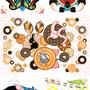 ◆ベクターイラスト(配色まで)+素材塗り加工(質感)◆釣りと鼻眼鏡・カブトムシと西瓜・動物とドーナッツ・動物メガホン…魚・猫・女子・雑巾がけと足跡