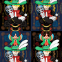 二次創作(デジタル練習用イラスト)/怪人☆仮面マスク哀牙と怪鳥☆仮面マスクサユリ(逆転裁判3&1)【使用画材/ソフト】CorelDRAW X5、Adobe Photoshop Elements 6.0。