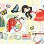 """◆ベクターイラスト(配色まで)+素材塗り加工(質感)◆4月イラスト「猫とランドセル」/April illustration """"Cat and school bag"""""""