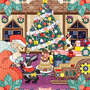 ◆ベクターイラスト(配色まで)+素材塗り加工(質感)◆何か赤と白で毛の生えた生き物がいる…(クリスマスイラスト)