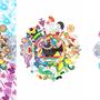 ◆ベクターイラスト(配色まで)+素材塗り加工(質感)◆カラフル色相環グラデーションと白黒カラス(colorful hue circle gradation with black and white crow)