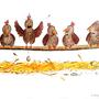"""""""Hühner"""", Zeichnung für Geburtstagskarte    Technik: Buntstifte & Fineliner"""