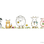 """""""Haustiere"""", Illustration & Design für Hochzeitseinladung    Technik: Buntstift & Fineliner"""