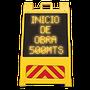 Caballete alimentado 8 baterias D •Textos formados por conjuntos de diodos, colores, rojos, ambar, verdes, blancos o azules •Protector de policarbonato •Interruptor manual y fotocelda para encendido y apagado automático