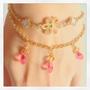 『小さなお花のブレスレット』お花とピンクがメインの可愛いブレスレット。イスラエル製パーツのジョイントに京都オパールの杜若色を使用 2015.12.27