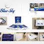 Blue Sky Cafè. Progettazione di: logo, biglietti da visita, nuovo menù, insegna cassonata, banner di facebook, targa 1.50 x 1.30 mt in plexiglass e forex per la facciata