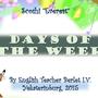 """Презентация к урокам английского языка в начальной школе по теме """"Дни недели"""", содержит не только описание дней недели, но и вопросы для учащихся по теме. 2015."""