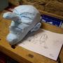 Albins Kopf in der Rohfassung. Die erste Ideenskizze stammt sogar aus dem Jahr 2004.