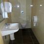 Aufgeräumt: Die Behindertentoilette. Leider auch mit großer Rolle.
