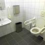 Vorhanden: Das Behinderten-WC.
