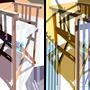 Stuhlgebilde   2005   -  Acrylfarbe auf LW  -  2x 1,5m x 1,0m