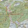 Kartenausschnitt der Tour, manuelle Aufzeichnung des Aufstiegs