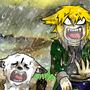 大雨降ってきたのに入れて貰えない犬