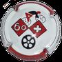 Marque : CEZ Bruno  N° Lambert : NR Couleur : Blanc contour rouge et blanc.  Description : Vélo - club Waregem - nom de la marque sur le pourtour Emplacement :