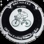 Marque : CEZ Bruno  N° Lambert : 31a Couleur : Noir contour blanc.  Description : Cycliste club Waregem - nom de la marque sur le pourtour Emplacement :