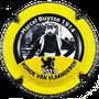 Marque : ROUYER Philippe N° Lambert : 110 Couleur : Jaune, noir et blanc, contour noir Description : Portrait de Marcel Buysse vainqueur Tour des Flandres 1914  - nom de la marque sur le contour  Emplacement :