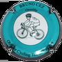 Marque : CEZ Bruno  N° Lambert : 31 Couleur : Bleu turquoise contour noir.  Description : Cycliste club Waregem - nom de la marque sur le pourtour Emplacement :