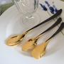 ファラロングメロン、グレープフルーツ、アイススプーン 18-8ステンレス製黒金メッキ