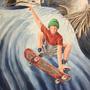 Skateboarder, 2019, 0 (64x49), Farbstift + Aquarell / Aquarellpapier