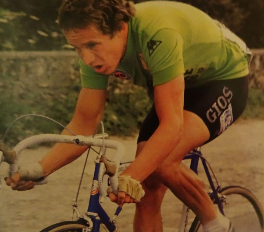 Didi bei der Tour de France 1979 - hier noch im grünen Trikot des Punktbesten, welches er bis kurz vor Schluß der Rundfahrt trug. (Foto aus der Zeitschrift Tour Nr.5/79)
