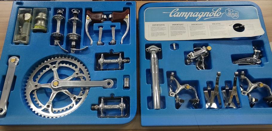 Original Schatulle mit der 50 Jahre Jubiläums-Gruppe von Campagnolo aus dem Jahre 1983 (Ausgestellt in Jockels Rennradmuseum)
