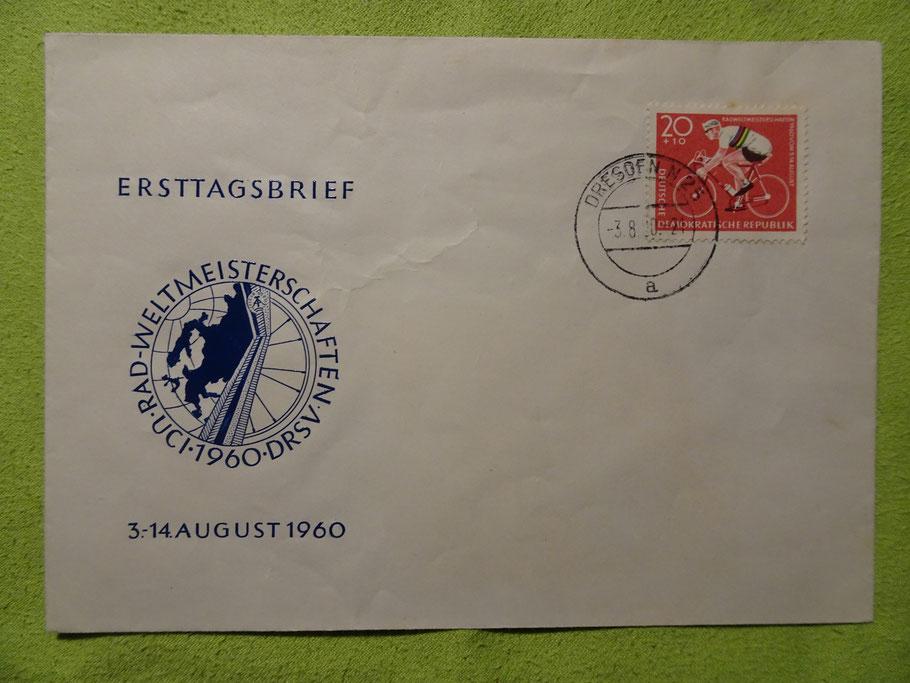 Ersttagsbrief zur WM 1960 in der DDR