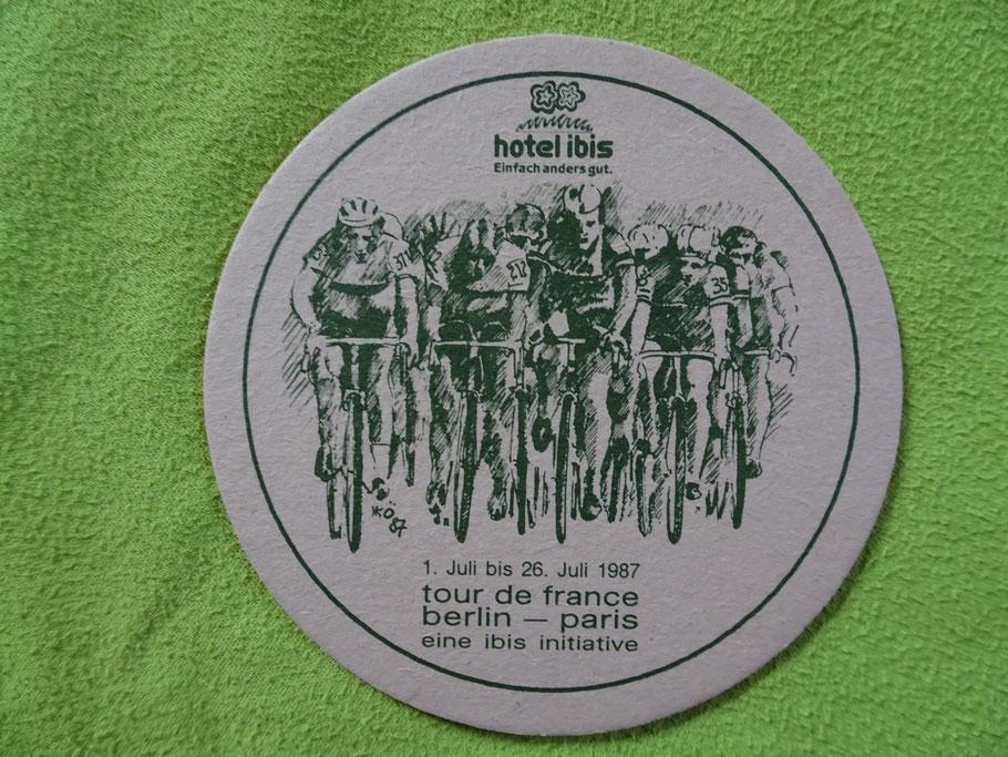 Der Start in (West-) Berlin - wieder mal auf einem Bierdeckel verewigt