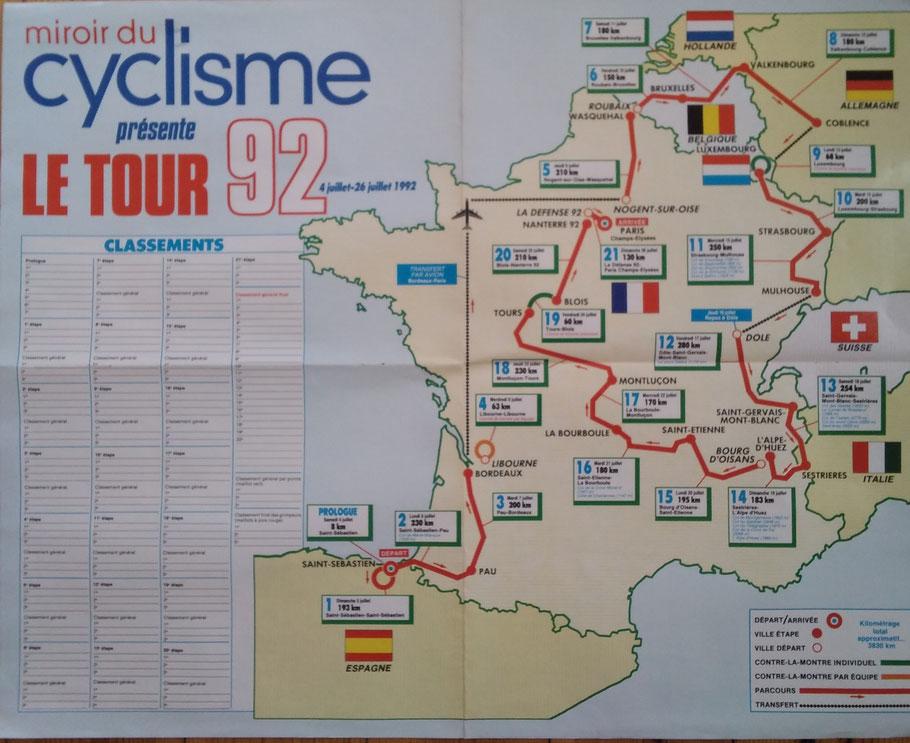 Der gesamte Streckenverlauf der Tour der Trance 1992