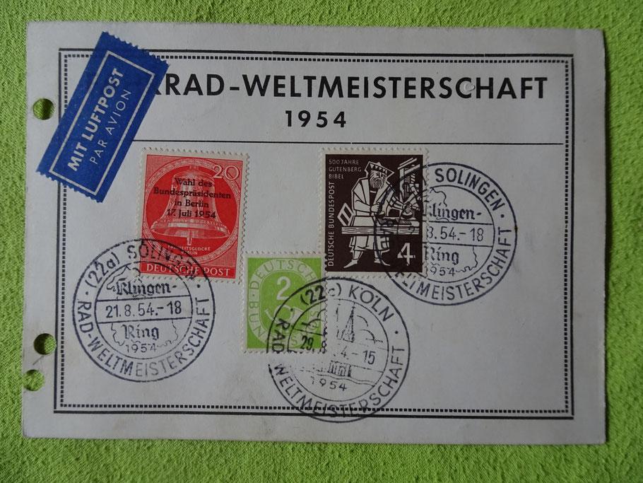 Postkarte mit Sonderstempeln zur WM 1954