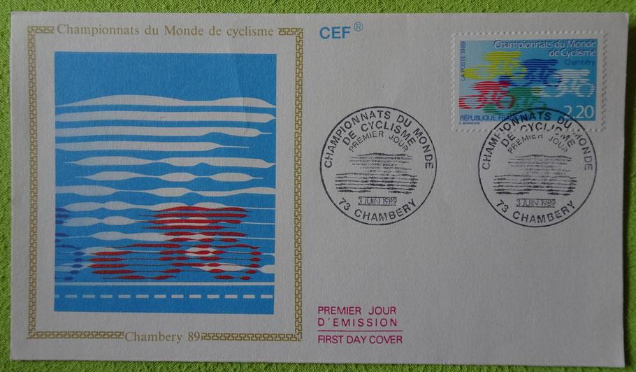 Ersttagsbrief der französischen Post zur WM 1989 in Chambery