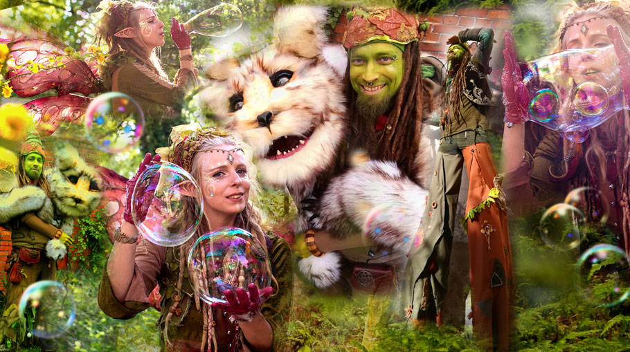 Seifenblasen Dresden, Stelzentheater mit Troll Trolly, Seifenblasen Elfe Sorgenfrei und Puppenspiel Kuno