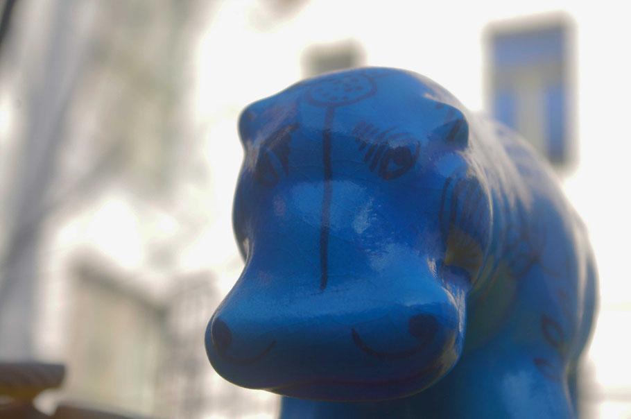 Haustier gefällig? Son blaues Nilpferd stünde zur Verfügung - mitsamt Nachwuchs!